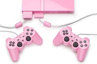 Pink PS2 with controllers