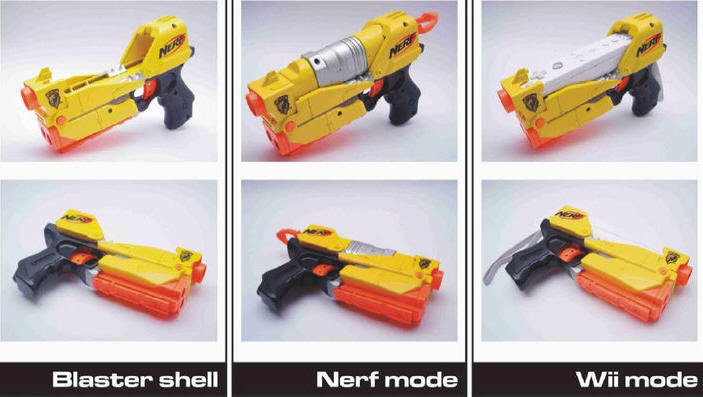 Nerf gun that doubles as a controller for a game about shooting a nerf