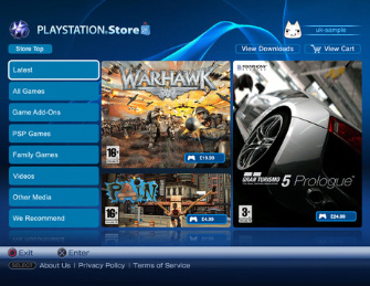 New PlayStation Store front