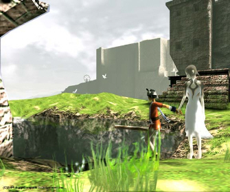 Ico holds Yorda's hand to guide her through the castle garden