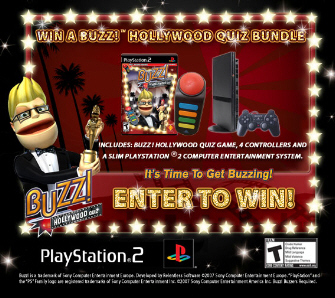 Win this Slim PS2 and Buzz HollyWood Quiz Bundle