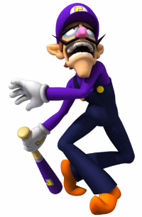 Mario Super Sluggers Waluigi Artwork