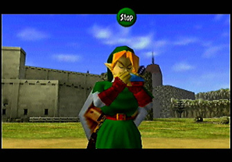 Adult Link plays the Ocarina (Zelda: Ocarina of Time Screenshot)