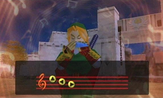 Link plays a song (Zelda: Ocarina of Time Screenshot)