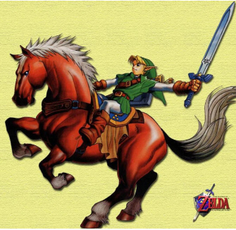 Link rides Epona. Zelda: Ocarina of Time artwork