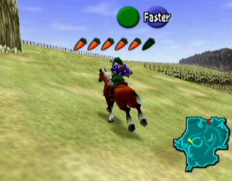 Link riding Epona (Zelda: Ocarina of Time screenshot)