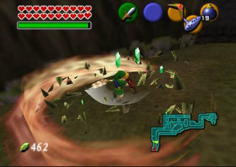 Link's Magic Spin-Attack Screenshot (Zelda: Ocarina of Time)