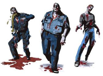 Resident Evil 2 zombie police artwork