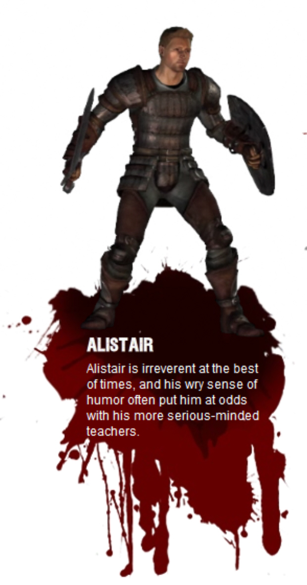 Alistair (Voiced by Steve Valentine) – This young warrior was recruited by