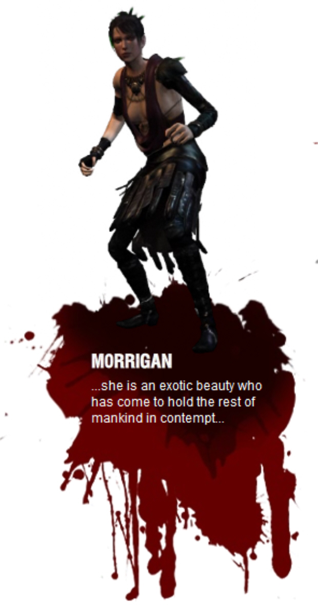 Morrigan (Voiced by Claudia Black) – Morrigan is a shapechanging mage,