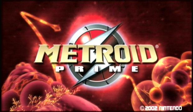 Metroid Prime logo screenshot (Title Screen Menu)