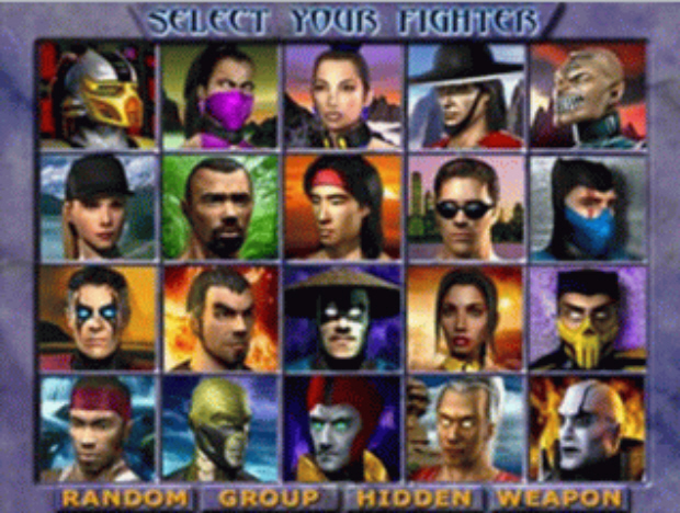 Mortal Kombat Gold Characters Select Screenshot