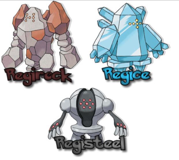 Regirock Regice Registeel Legendary Pokemon artwork