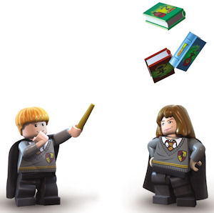 Lego Harry Potter wingardium leviosa practice picture of Ron and Hermione