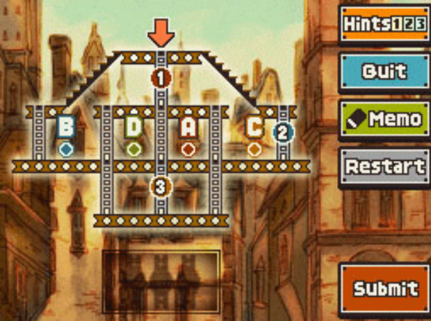 Professor Layton and the Unwound Future puzzle 112 Beams and Ladders solution screenshot