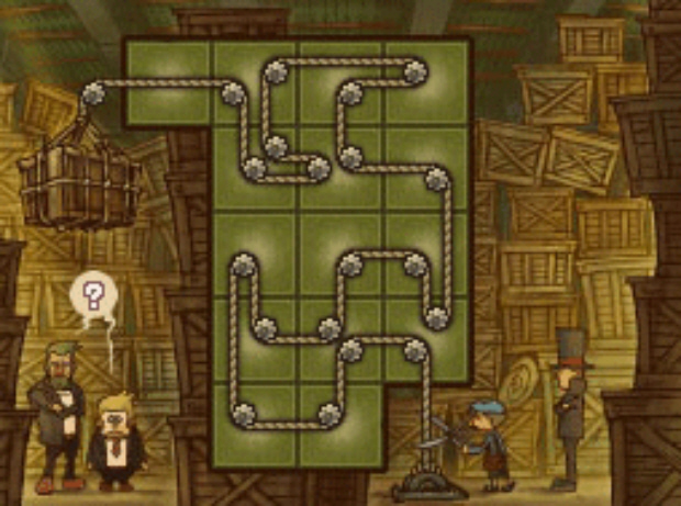 Professor Layton and the Unwound Future puzzle 114 Ropped In solution screenshot