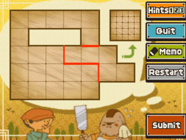 Professor Layton and the Unwound Future puzzle 53 Making Another Cut solution screenshot