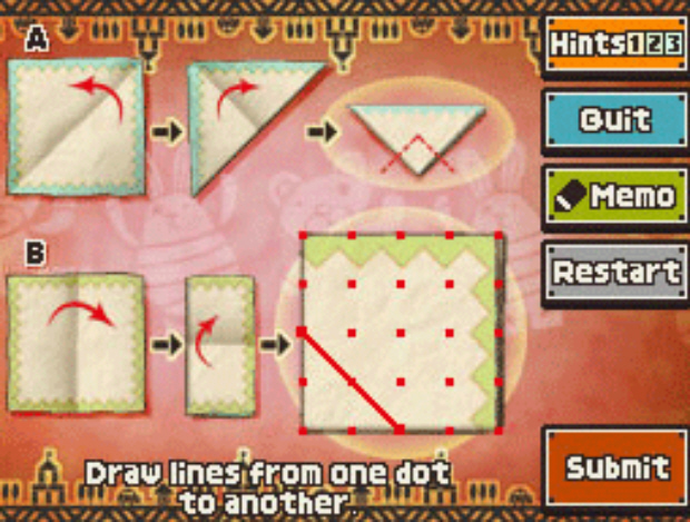 Professor Layton and the Unwound Future puzzle 68 Paper Cuts solution screenshot