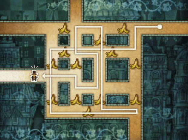 Professor Layton and the Unwound Future puzzle 98 Slippery Trip 3 solution screenshot