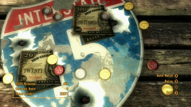 Fallout New Vegas Caravan Cards Game Screenshot for the PC, Xbox 360, PS3 Locations Guide