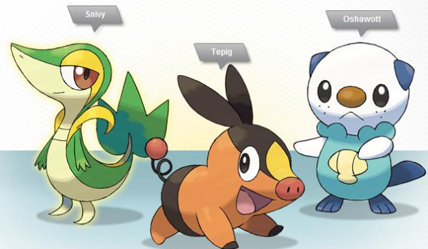 Snivy, Oshawott and Tepig are the Pokemon Black & White starter Pokemon