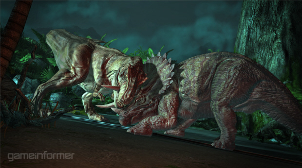 Jurassic Park 2011 game dinosaur fight screenshot (PC)