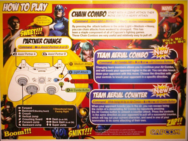 Marvel vs Capcom 3 controls how to play artwork
