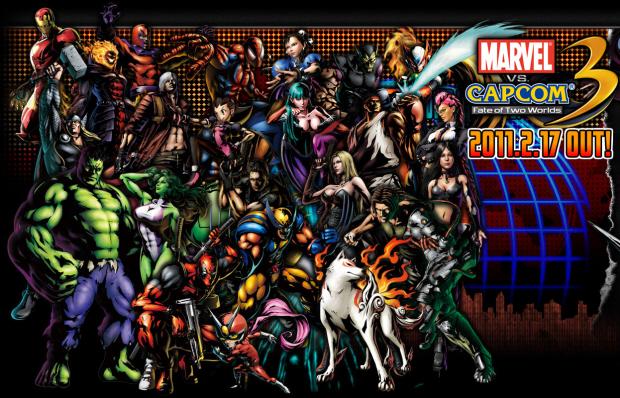 Marvel vs Capcom 3 full roster wallpaper