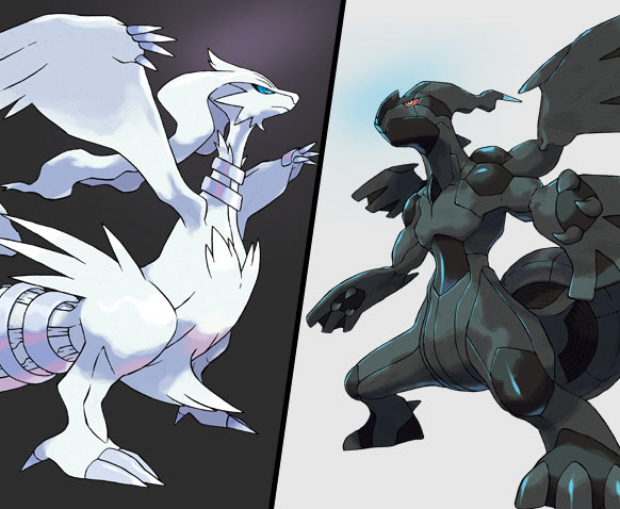 Zekrom and Reshiram Legendary Pokemon Black and White artwork (Let's Play)