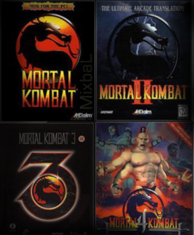Mortal Kombat 1,2,3,4 logos