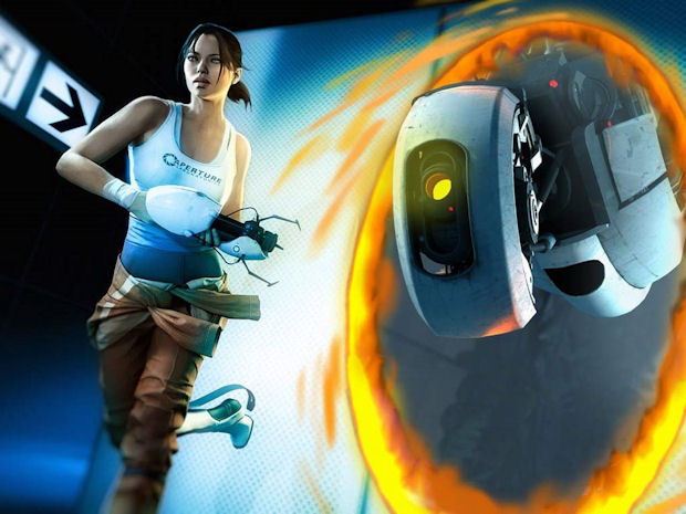 Portal 2 Chell and GLaDOS Wallpaper