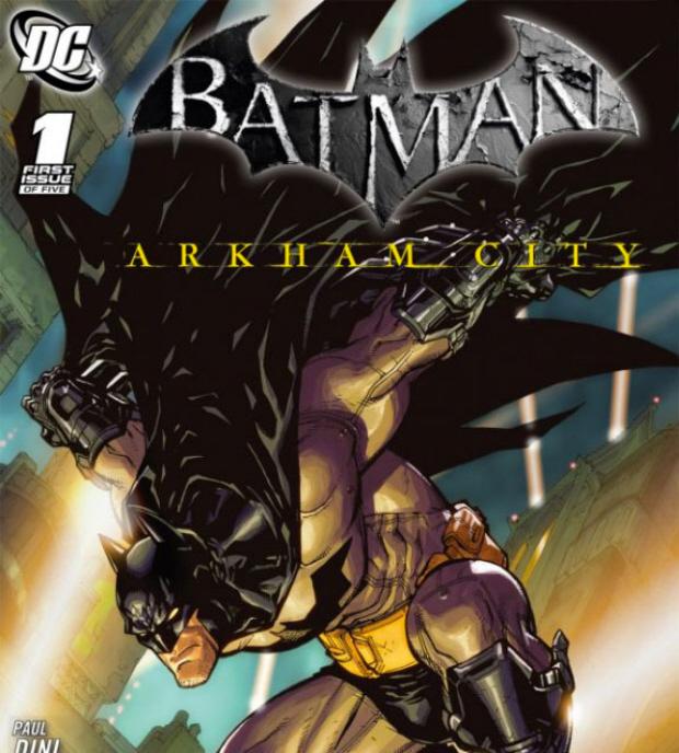 Batman: Arkham City comicbook cover artwork by Paul Dini and Carlos D'Anda