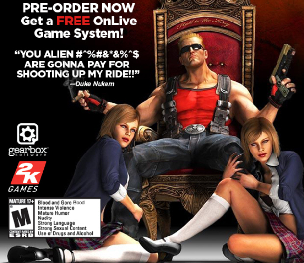 Duke Nukem Forever OnLive pre-order includes free MicroConsole a $100 value
