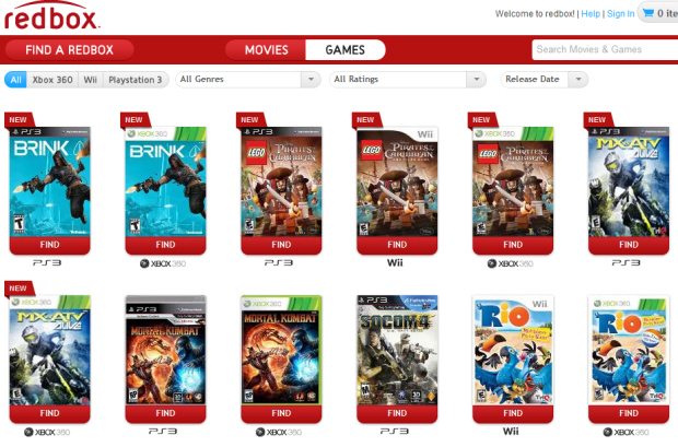 Lots of Redbox videogames are available for rent at $2 a pop