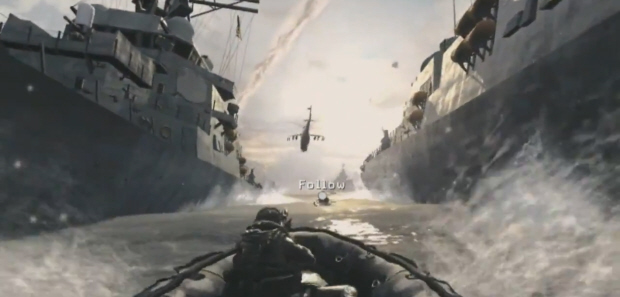 Riding between two giant submarines in Call of Duty: Modern Warfare 3