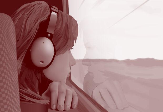Scarlett Johansson listening to game music on the train