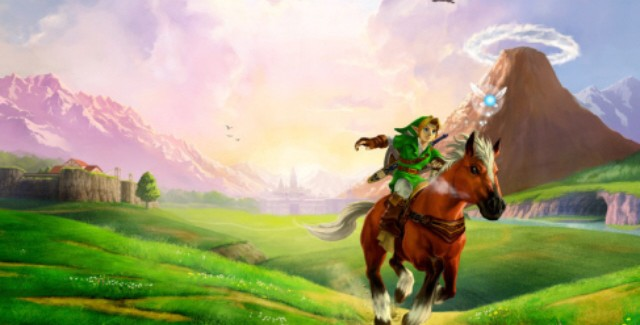 Ocarina of Time 3DS review artwork. Link rides Epona through Hyrule Field!