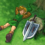 The Legend of Zelda Wallpaper (Zelda II: Adventure of Link) - Resting With Hylian Shield and Sword