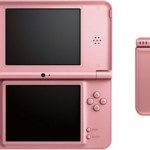 Pink DSi XL Called Metallic Rose. Pic Shows Open, Closed and Larger Pink Stylus Pen