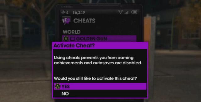 Saints Row: The Third cheat codes menu screenshot
