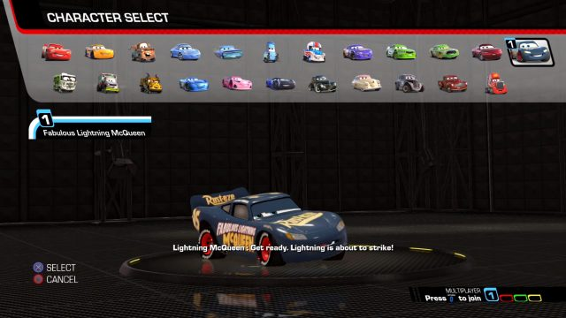 Cars 3: Driven to Win Game Character Select Screen