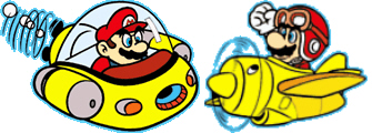 Super Mario Land submarine and fighter plane character art