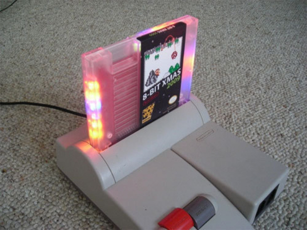 8-Bit Xmas 2009 NES cartridge with new Snowball Fight game