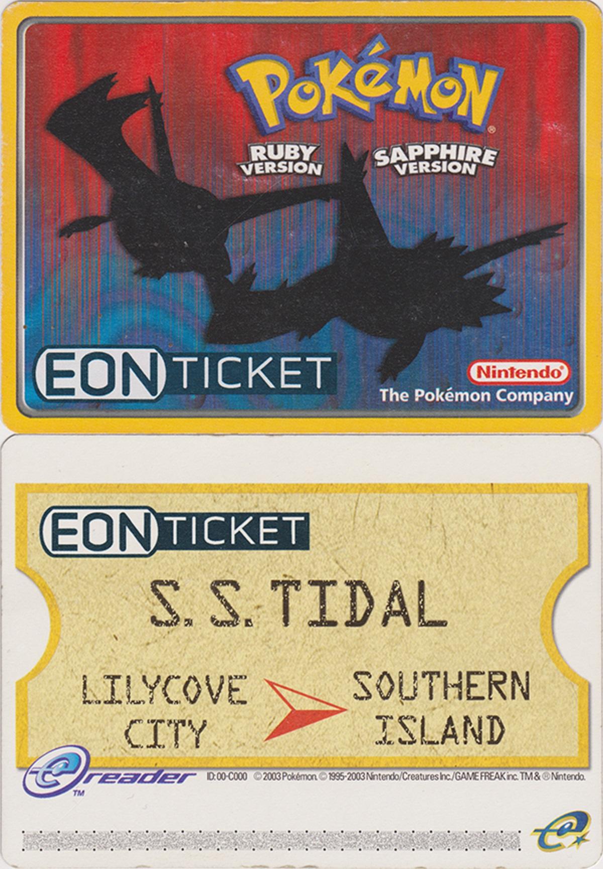 Physical Eon Ticket eCard eReader GBA Nintendo Power Pokemon